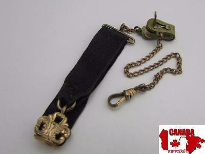 Victorian Gold Filled Garment Clip Pocket Watch Chain w/ Fob~JMF & Co 1908