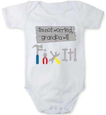 Romper baby bodysuit I am not worried grandpa will FIX IT in different languages
