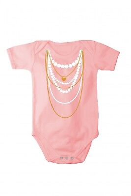Romper baby bodysuit with print necklace