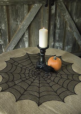 """HW-3000B USA Lace Halloween Black Spider Web 30"""" Round Doily Table Topper Decor"""