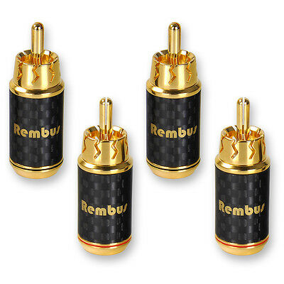 4 x Rembus High End Cinch Stecker Carbon Chinch Audio RCA Plug vergoldet RS-138