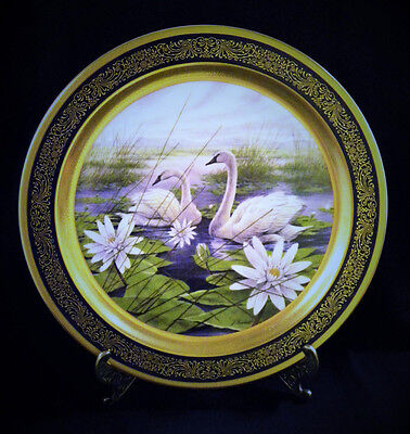 Large Pickard Trumpeter Swan Plate With Stand Gold Embelishments James Lockhart
