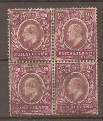 SOMALILAND SG47 1905 2a DULL & BRT PURPLE USED BLK OF 4