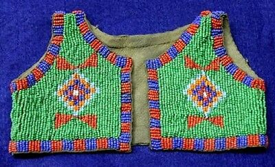 Vintage Antique Circa 1890 - 1930's Northern Plains Sioux Beaded Infants Vest