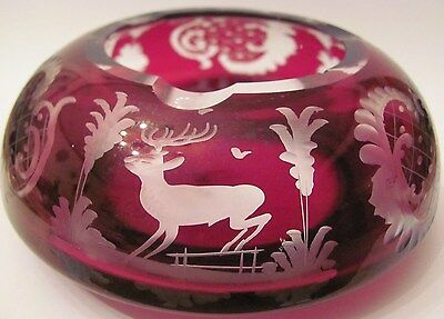 Vintage Egermann Bohemia Crystal Ruby Red Deer in the Castle Glass Ashtray?