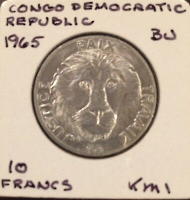 1965 Democratic Republic of Congo 10 Francs Aluminum KM # 1