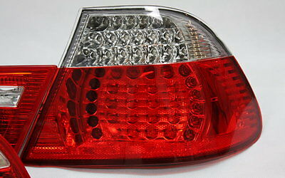 KLARGLAS LED RÜCKLEUCHTEN SET BMW E46 3er COUPE 99-03 ROT KLAR + LED BLINKER NEU