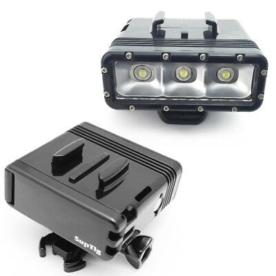 GoPro Camera Waterproof LED Diving Light Lamp Torch + Buckle Mount + 2x Batterie