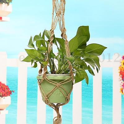 Handcrafted Knitting Macrame Jute Plant Basket  Hanger Pot Holder  Hanging Ring