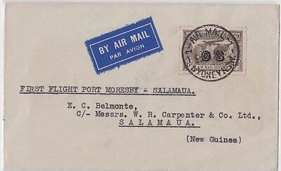 Stamp 6d brown airmail overprinted OS 1st flight cover Australia - New Guinea