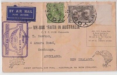 Stamps 6d airmail uprated 1934 Faith In Australia New Zealand flight cover