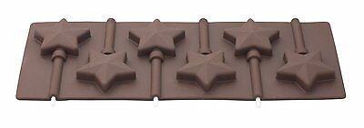 New 6 Star Shape Silicone Chocolate Lolly Mould With Sticks Tala