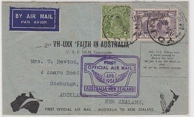 Stamps 6d Kingsford Smith Faith In Australia 1934 New Zealand flight cover