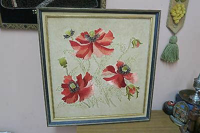 """Antique Arts & Crafts Linen Tapestry Panel Silk Embroidery Poppies 19"""" x 20"""""""