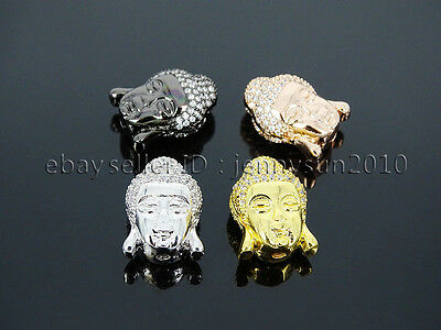 Clear Zircon Gemstones Pave Buddha Head Bracelet Connector Charm Beads
