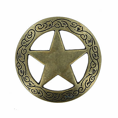 "58S-BFSC35-ANT - ANTIQUE 1-3/4"" Badge Star w/Filigree Conchos  Western Saddle"