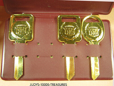 3 Cadillac Blank Keys Gold Plated 2 Engine One Door In Cadillac Case #1643434
