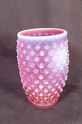 LOVELY Vtg Fenton Cranberry Opalescent Hobnail Tumbler Art Glass 12 Ounce