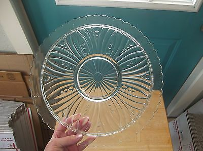 Vintage Clear Glass Cake Plate with Scalloped Edge