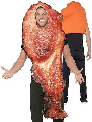 Adults Bacon Costume Mens Ladies Novelty Food Fancy Dress Stag Breakfast New