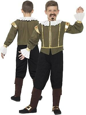 Child Shakespeare Costume Boys Tudor Medieval Fancy Dress Book Week Day New