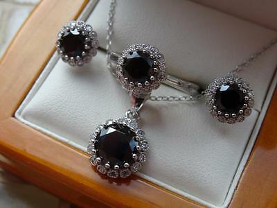 925 Silver Womens Black & White Cz Ring, Necklace & Earrings Set - New - Size L