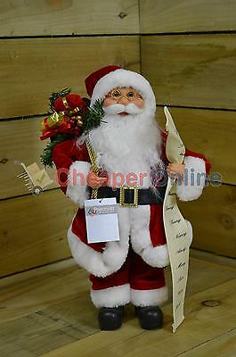 40cm Standing Indoor Santa Claus / Father Christmas with List Plush Decoration
