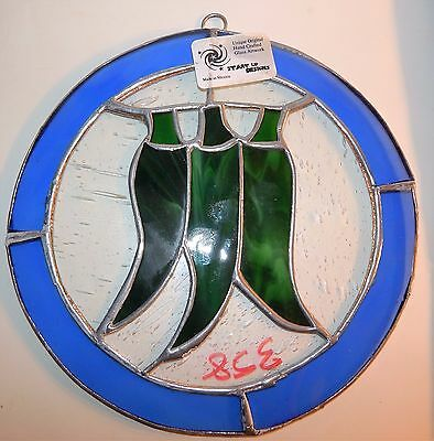 Leaded Stained Glass Sun Catcher 3 Green Peppers Hanging