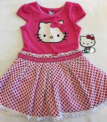 NEW Girls Sanrio HELLO KITTY Pink Party Dress/ Lace Overlay Skirt Size 3T