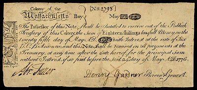 Colonial Currency, MA May 25, 1775 PAUL REVERE Copper Plate Indent Note PMG F-12