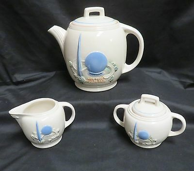 1939 New York Worlds Fair Porcelier Teapot, Cream and Sugar Art Deco