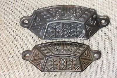 "2 old Bin Drawer Pulls handles rustic Windsor leaves 4"" vintage cast iron"