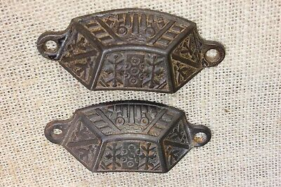 "2 old Bin Drawer Pulls handles rustic Windsor leaves 3 3/8"" vintage cast iron"