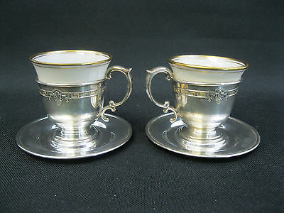 Vintage Pair (2) Lenox Sterling Silver Demitasse Espresso Cups Marked Cup/Saucer