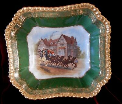 Imperial Crown Square Dish Horse & Carriage Scene Austria China Gold Trim