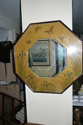Asian Oriental Octagonal Beveled Mirror With Lacquered Frame