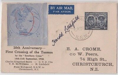 Stamp Australia 5&1/2d Gloucester 20th anniversary flight cover & label, signed