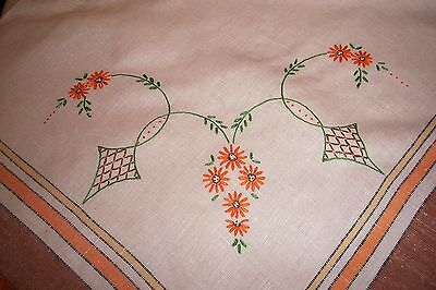 Vintage Linen Tablecloth with Hand Embroidered Orange Flowers Brown Tone Edge