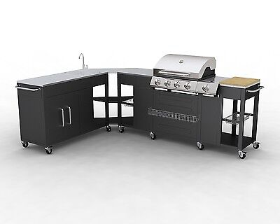 #bNEW GAS BBQ BARBECUE OUTDOOR KITCHEN STAINLESS STEEL 5 BURNERS SIDE BURNER