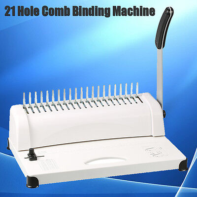 Heavy Duty A4 Plastic Comb Binding Machine 21 Hole Coil Punch Binder Office Home