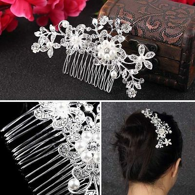 Diamond Bridal Wedding Flower Silver Plated Stunning Sparkling Hair Comb Pin DS