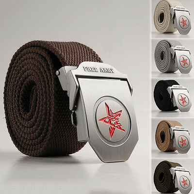 Automatic Red Star Waistbands Canvas Men's Casual Waist Strap Metal Buckle Belts