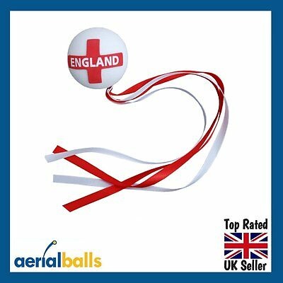 REDUCED...England St George Ribbon Ball Flag Car Aerial Antenna Topper