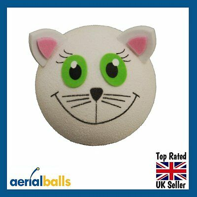 Happy White Cat Car Aerial Ball Antenna Topper - New Exclusive design!