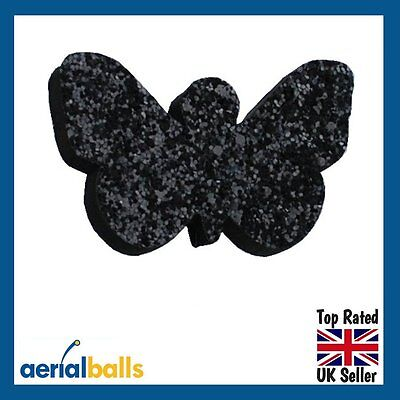 Black Glitter Butterfly Car Aerial Antenna Ball Topper
