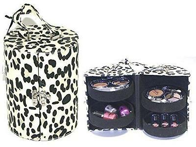 Make Up Vanity Drum Case Contouring Beauty Cosmetic Kit Travel Gift Set LEOPARD