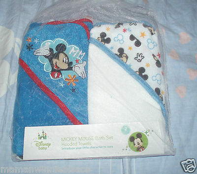 lot 2 capes de bain neuves emballées mickey disney coton polyester