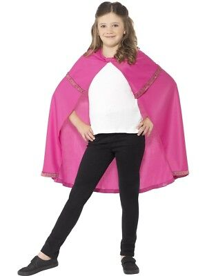 Pink Cape Girls Super Hero Fancy Dress Accessory 4-14 Years