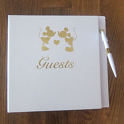 Large Mickey Minnie Disney Wedding Guest Book and Pen BRAND NEW