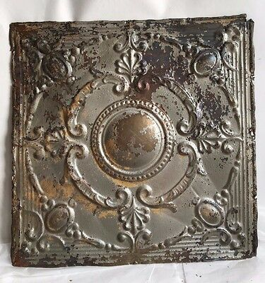 "1890's 24"" x 24"" Antique Reclaimed Tin Ceiling Tile Silver Metal Anniversary B93"